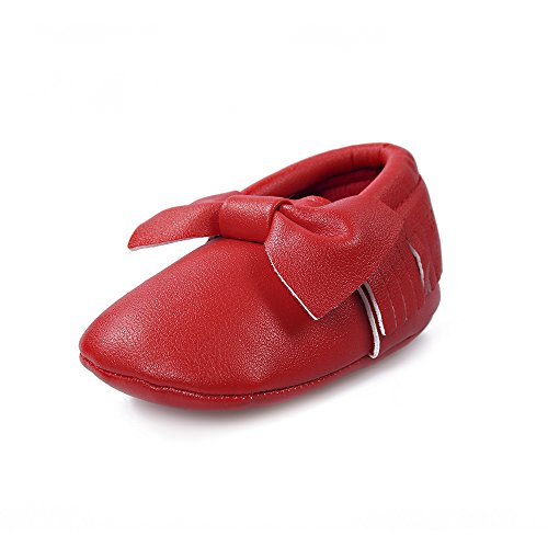 Image of OOSAKU Infant Toddler Baby Soft Sole PU Leather Bowknots Shoes