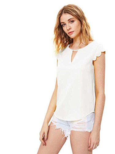 Womens White Blouse - MakeMeChic Women's Casual Plain Scallop Cutout Cap Sleeve Blouse Top White L