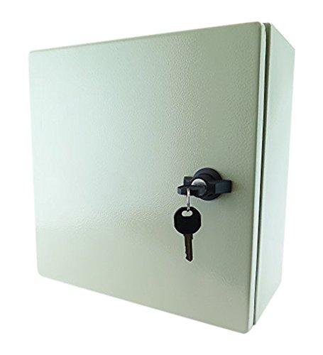 YuCo YC-16x16x8-El-2-K IP65 16 Gauge Wall-Mount Standard Indoor/Outdoor Enclosure, 16'' H x 16'' W x 8'' D with Lock 2 Key's