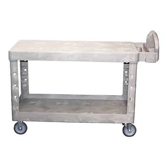 Rubbermaid Commercial FG454500BEIG Heavy-Duty Utility Cart, Flat Shelves, Large, Beige