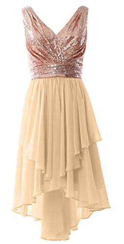 MACloth Women Straps V Neck Sequin Chiffon High Low Prom Dress Formal Party Gown Rose Gold-Champagne