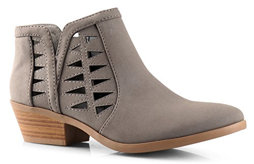 - Soda Women's Perforated Cut Out Stacked Block Heel Ankle Booties (6 M US, Gray Nubuck)