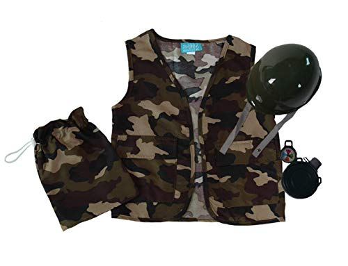 Making Believe Boys Camo Army Soldier Vest, Helmet and Toy Accessory Gift Set 5-8 Years ()