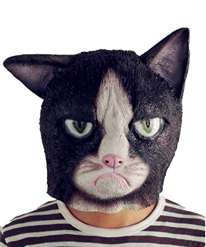 Lepy Grumpy Cat Mask, Novelty Halloween Costume Latex Animal mask Adult Size (Black)]()