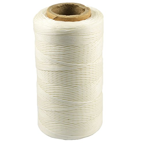 - Mmei 284yd 150D 1mm Sewing Waxed Thread Hand Stitching Cord for Leather Craft DIY (White)