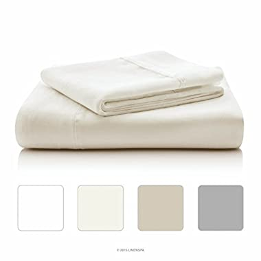 LINENSPA 800 Thread Count Cotton Blend Wrinkle Resistant Sheet Set - Ivory - Queen Size