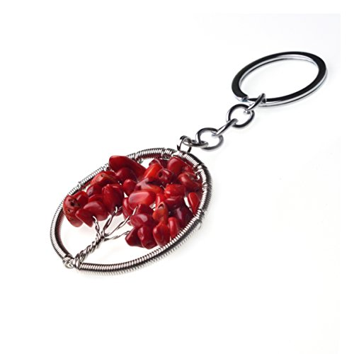Joya Gift Charm Red Coral Tree of Life Natural Crystal Stone Handmade DIY Circle Keyring Pendant Necklace (Coral Tree Pendant)