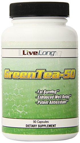 Green Tea 90 Caps - LiveLong Nutrition Green Tea 90 Caps 500mg.3 Pound