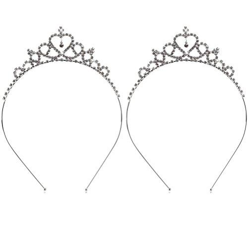 Buytra 2 Pack Wedding Party Bridal Bridesmaid Flower Crystal Heart Shape Princess Crown Headband Tiara for Girls Children, Silver -