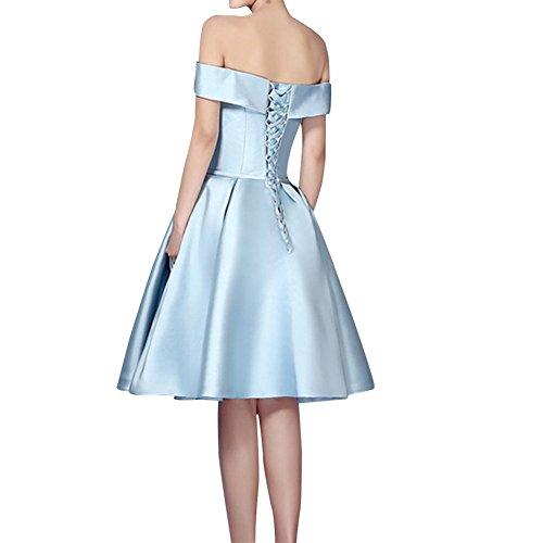 Satin Shoulder Women's Prom Skyblue Bridal Bridesmaid Short Dresses Amore Off SwAf6gxq