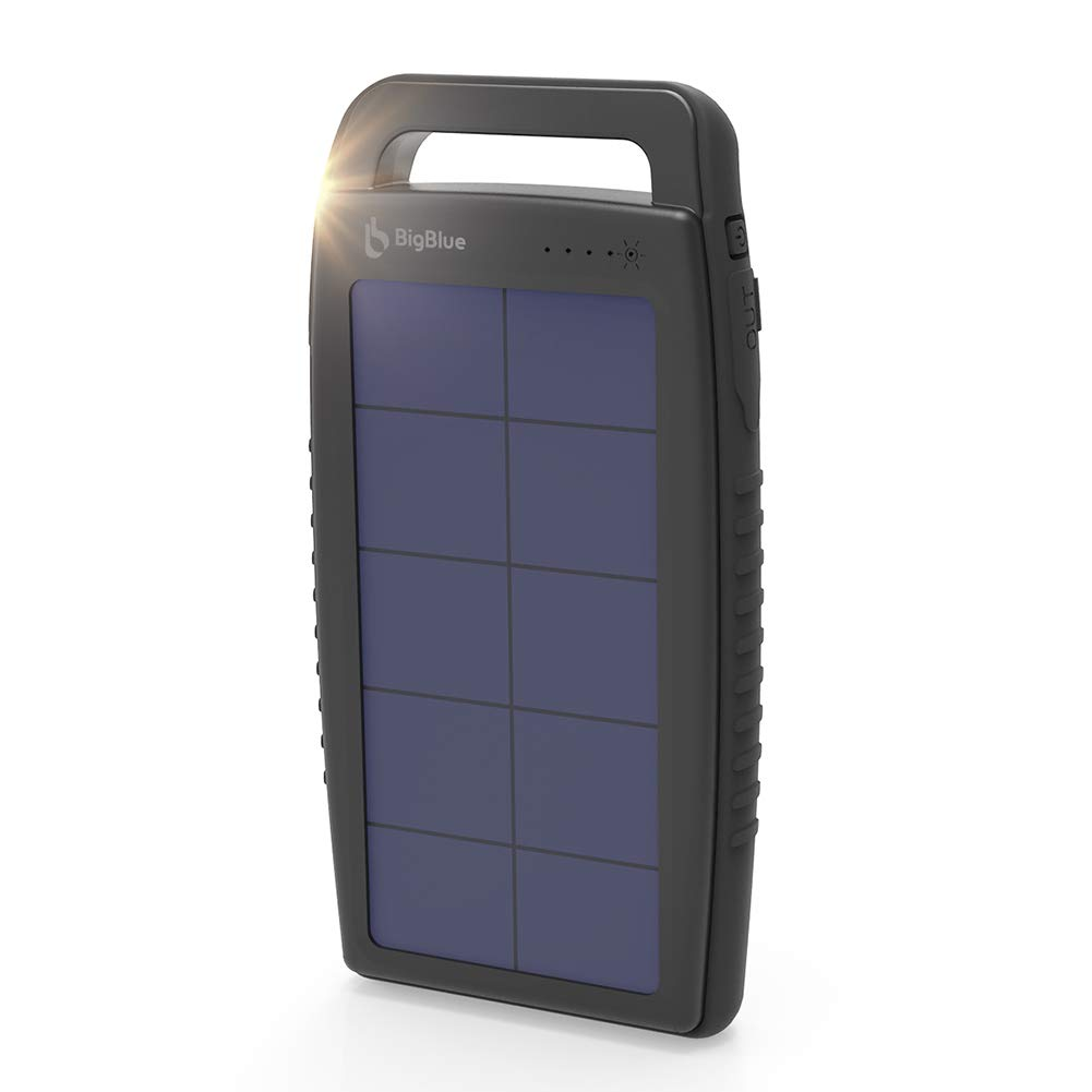 BigBlue Solar Battery Charger 10000mAh IPX4 Waterproof Dual USB Ports Emergency Solar Powered Charger with 6 LED Light Fast Charging for Cellphone Tablet and More Devices (Black) by BigBlue
