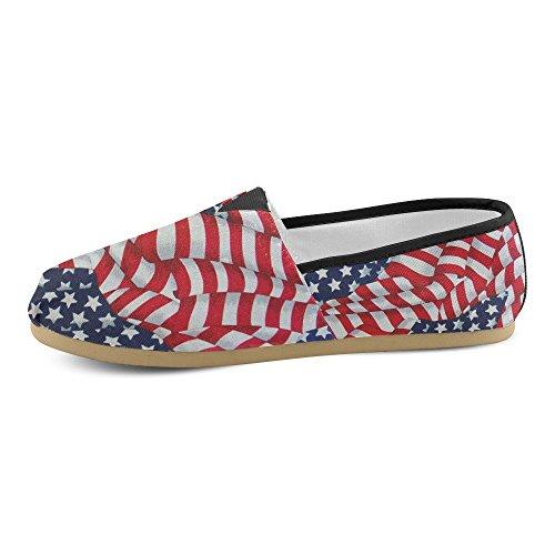 D-story Mode Sneakers Lägenheter Retro Amerikanska Flaggan Kvinna Klassiska Slip-on Tygskor Loafers