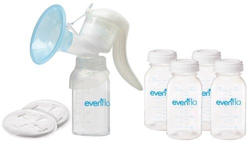 Evenflo Manual Breast Pump with Milk Storage Bottles & Dispo