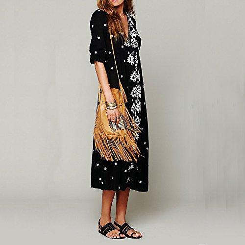 Embroidered Cotton Long Dresses Casual Vivimos Tie R Floral Women Black Boho Drawstring xqaTpZwI