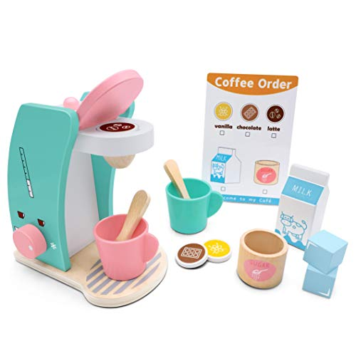 Play Kitchen Accessories - Brew & Serve Wooden Coffee Maker Set, Encourages Imaginative Play, 13 Pieces, Upgraded Toy Coffee Set for Kids-Fun and Colorful for Girls and Boys