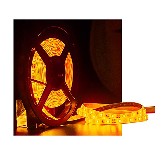 (XINKAITE Waterproof Led Strip Lights SMD 3528 16.4 Ft (5M) 300leds 60leds/m White Flexible Tape Lighting Tape Lights for Boats, Bathroom,Mirror,Ceiling and Outdoor, Power Supply not Included (Orange))
