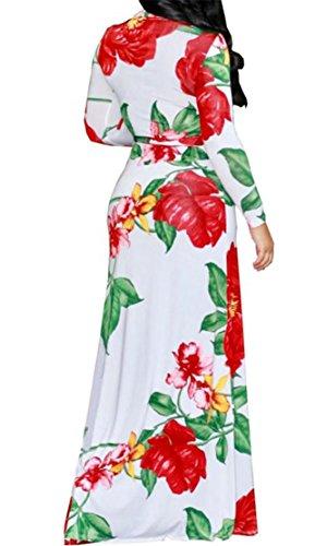 Manches Longues Élégantes Femmes Cromoncent V-cou Imprimé Fractionnés Moulante Robes Maxi Maxi White3