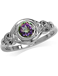 Mystic Fire Topaz 925 Sterling Silver Celtic Knot Ring