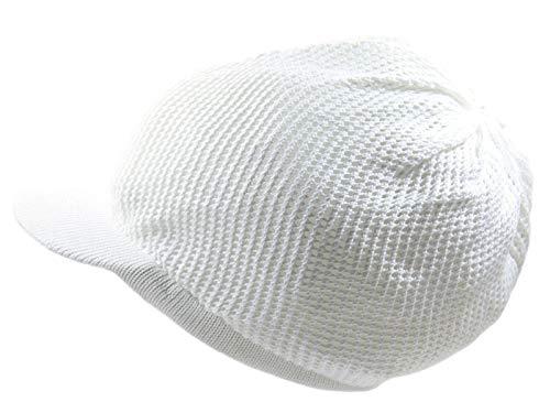 White Beanie Visor - RW 100% Cotton Mesh Rasta Light Weight Slouchy Beanie Visor (White)