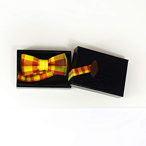 (Yellow plaid Madras bow tie)