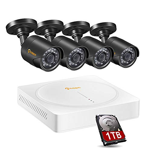 Anlapus 8-Channel HD-TVI 720P Surveillance Camera System Security DVR Recorder with 1 TB Hard Drive and 4 x 720P 1280TVL Indoor Outdoor Waterproof Home Security System CCTV Cameras with Night Vision
