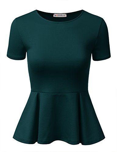 (Doublju Stretchy Flare Peplum Blouse Tops for Women with Plus Size Teal Small)