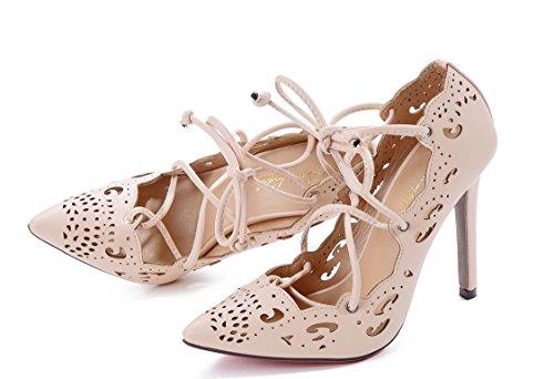 YCMDM donne Grandi sandali Officine scavato Tacchi alti singoli pattini 39 36 35 38 37 40 41 42 43 , apricot , 41