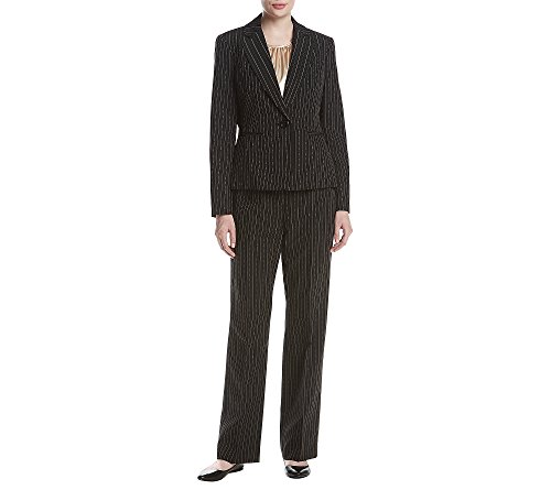 Black Pinstripe Pant Suit (Le Suit Women's Pinstripe 1 Button Pant Suit with Cami, Black/Beach, 6)