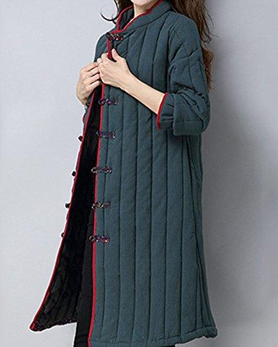 Delgada Cuello Botones Con Chaqueta Empalme Caliente Redondo Mujeres Abrigo Verdinegro OpH4qwwd