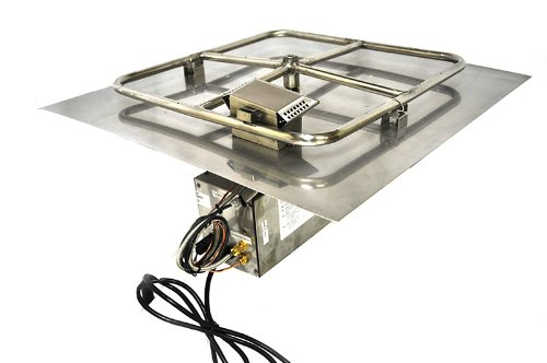 30FSSHWI-SQ 30in Square Flat Pan Complete Electronic Ignition Firepit Insert for Natural Gas ()