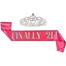 "2-Pack Set of Birthday Girl Tiara and Birthday Sash - Rhinestone Crown with ""Finally 21!"" Polyester Sash Decoration for 21st Birthday Celebrations, Pink"