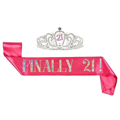 2-Piece Set of Birthday Girl Tiara and Birthday Sash - Rhinestone Crown with