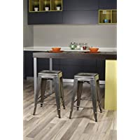 GIA Gunmetal 24 Counter Height Square Backless Industrial Metal Stool(Set of 2) - Tolix Style - Weight Capacity of 300+ Pounds - Ready to use - Extra Durable and Stackable