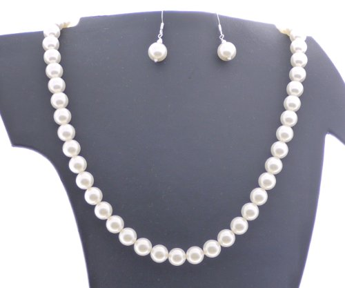 Collier et Boucles d'oreille en perles blanches de Swarovski et 925 Argent Sterling, à la main par Hanfords de Londres