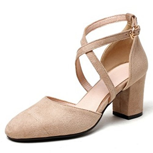 apricot Women Cross Sandals Toe COOLCEPT Fashion Closed Block Shoes Heel Criss 6wd4qqav