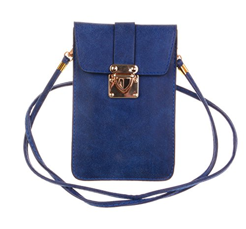 KISS GOLD (TM) Luxury Matte PU Leather Mini Crossbody Single Shoulder Bag Cellphone Pouch (Model - With Strap Small Satchel