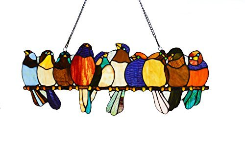 - 10 Inch Tall Leaded Stained Glass Birds On Wire Window Panel by River of Goods