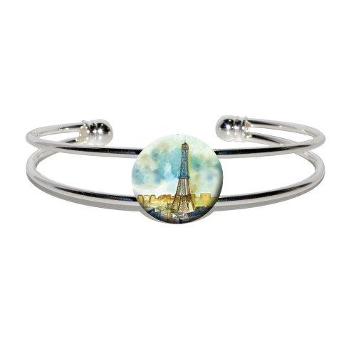 Watercolor Paris - Eiffel Tower France - Novelty Silver Plated Metal Cuff Bangle Bracelet