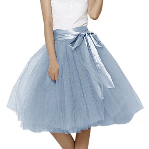 Lisong Women Knee Length Bowknot Layered Tulle Party Prom Skirt 14 US Dusty Blue -