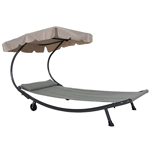 Abba Patio Outdoor Portable Chaise Lounge Chair Hammock Bed with Sun Shade and Wheels by Abba Patio