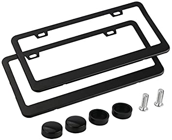 license plate frame arespark 2pc set matte aluminum license plate frame with screw caps