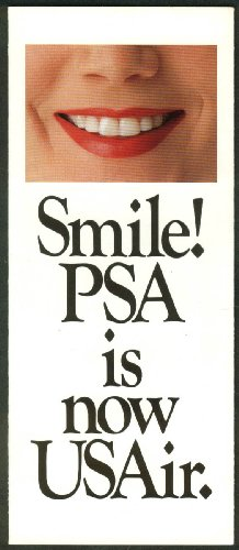 Smile! Pacific Southwest Airlines is now USAir airline folder 1987 -