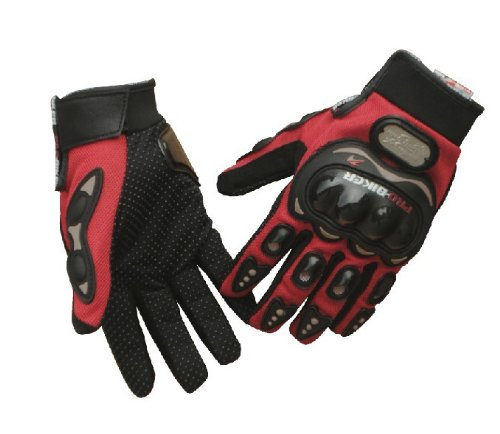 Tcbunny Pro-biker Motorbike Carbon Fiber Powersports Racing Gloves (Red, Large)]()