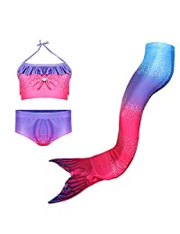 DSL Girls 3 Pcs Swimsuit Mermaid Bikini Bathing Suit Set for 3-8Y