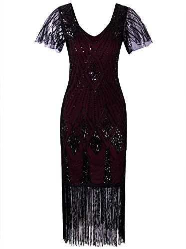 Vijiv Women s Vintage 1920s Dresses Gatsby with Sleeves Long Sequin Beaded  Flapper Dress for Party c7695c94e58c