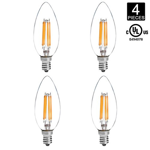 HERO-LED B10-DS-4W-WW27 Dimmable B10 E12 4W Candelabra Style LED Filament Chandelier Light Candle Bulb, 40W Equivalent, Warm White 2700K, UL-Listed, 4-Pack