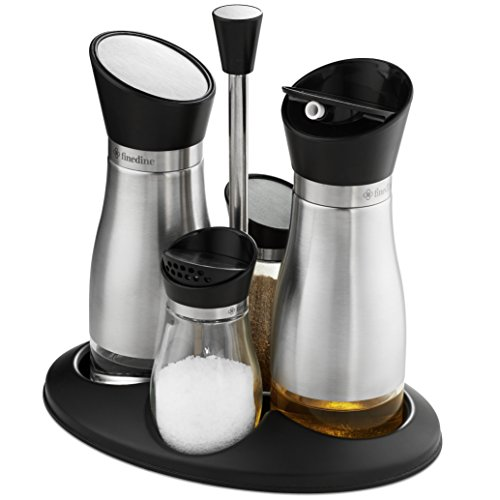 Caddy Cruet (FineDine Premium Glass Cruet Set Stainless Steel Brushed Finish, Oil & Vinegar Dispenser and Salt & Pepper Shaker with Twist Open/Close Tops Rubber Gasket Seal with Caddy Stand - 5 Piece Combo Set)