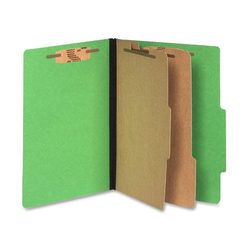 (Wilson Jones Classification Folders with Fasteners, ColorLife PRESSTEX, 6-Part, Letter Size, Green, 10/Box (A7015665))