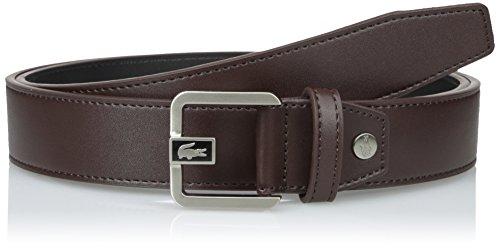 Lacoste Men's Premium Leather Dress Belt with Metal Croc, Brown, 37 (Mens Premium Leather Dress Belt)