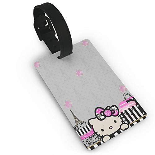 WSXEDC Luggage Tags Hello Kitty in Paris Suitcase Labels Bag Tag Travel Accessories ()